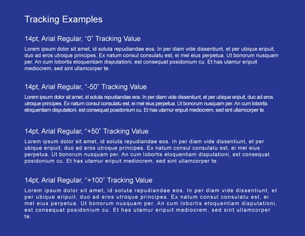 Examples of Tracking Text
