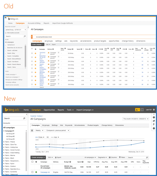 Bing Ads Interface Comparison