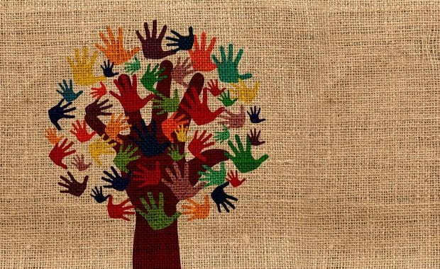 Volunteering hands tree graphic