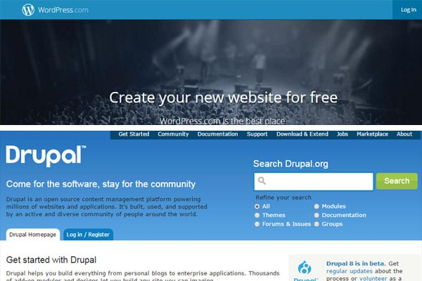 popular open source CMS's (wordpress, drupal)