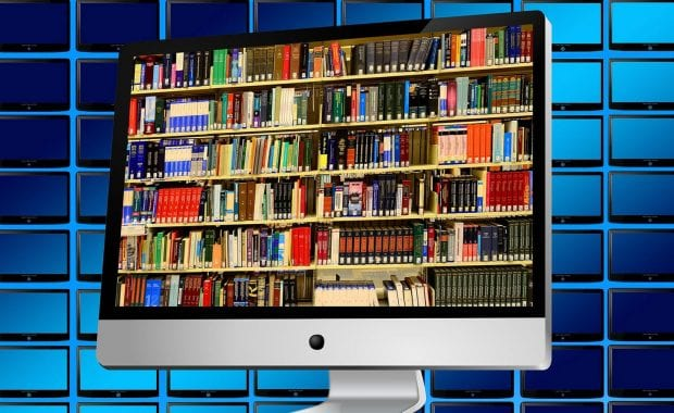 Books on computer screen