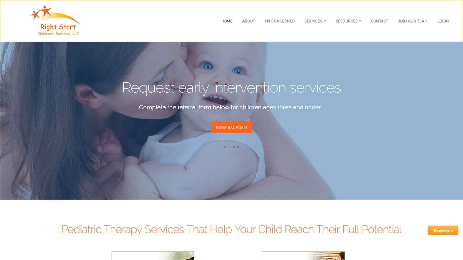 Right Start Children's Services website