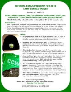 Camp Conrad Weiser Referral Bonus Program